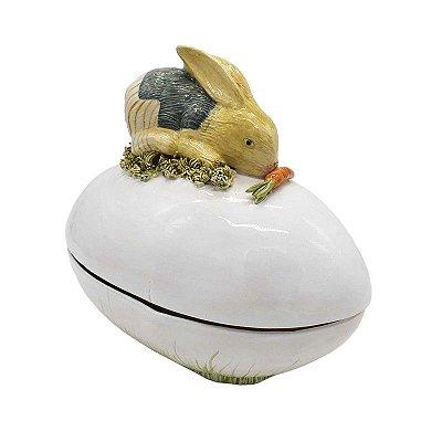 Ovo Bowl Com Tampa de Coelho Deitado em cerâmica Zanatta Casa