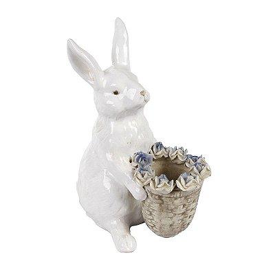 Coelha com Cesta e Rosas Azul Zanatta Casa