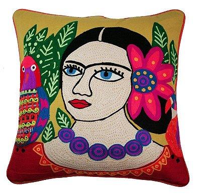 Almofada Frida Kahlo Amarela Bordada 48x48 cm