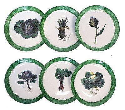 Conjunto pratos rasos Veggies Verde
