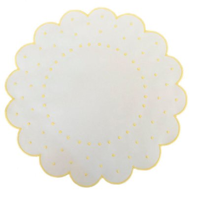 Jogo Americano Branco poá amarelo