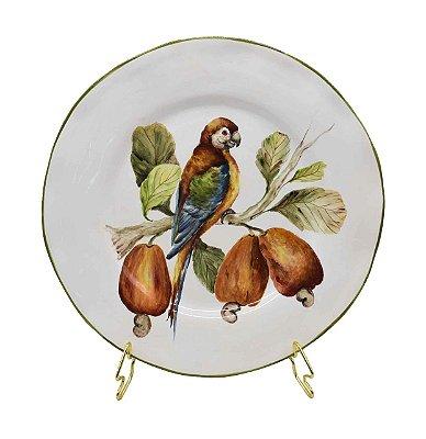 Prato raso desenho Papagaio com Caju Zanatta Casa