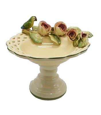 Bowl com Pé e Rosas Antigas com Pássaro Punta