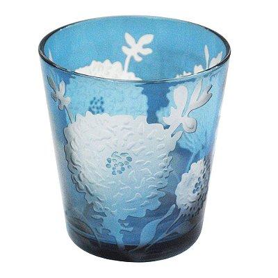 Copo Azul Lapidado Flor (jogo 6)