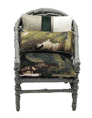 Mini Cadeira Decorativa em Vime verde militar