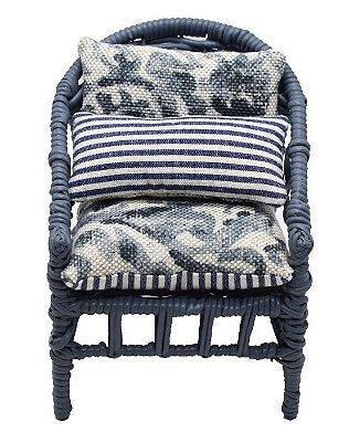 Mini Cadeira Decorativa em Vime azul escuro