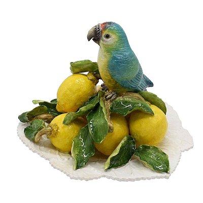Pássaro na Folha com Limões em cerâmica Zanatta Casa