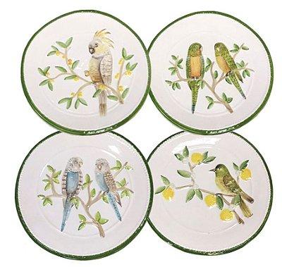 Conjunto Pratos com 4 Pássaros (sobremesa)