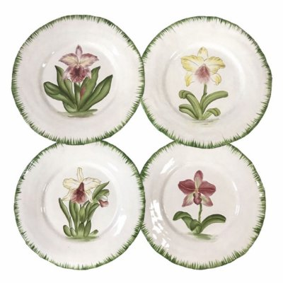 Pratos Jantar Orquídeas borda verde (cj 4)