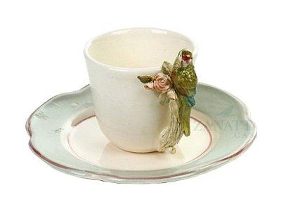Xícara café Rosas e Pássaro Punta Azul claro (cj 2)