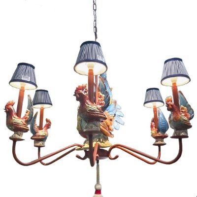 Lustre de ferro com galos de cerâmica Zanatta Casa