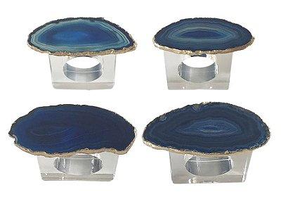 Porta guardanapo ágata azul (set 4)