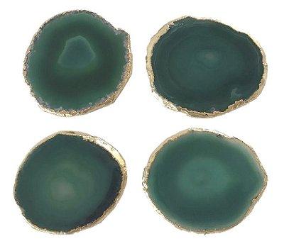 Porta copo de ágata verde (set 4)