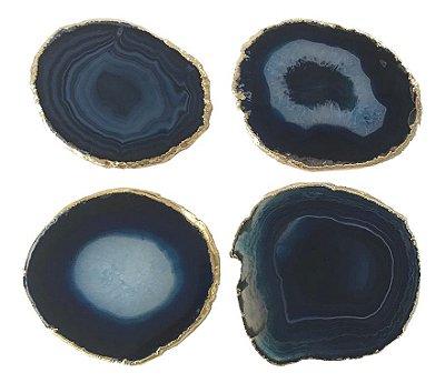 Porta copo ágata azul (set 4)