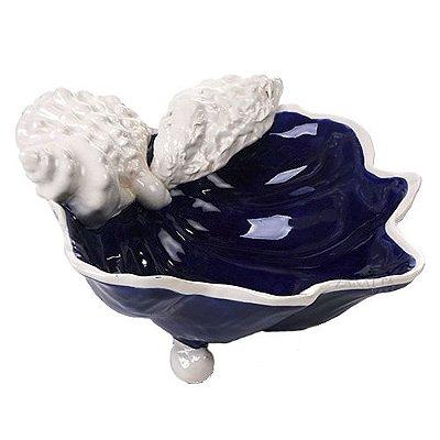 Bowl P azul cobalto com aplicação de conchas