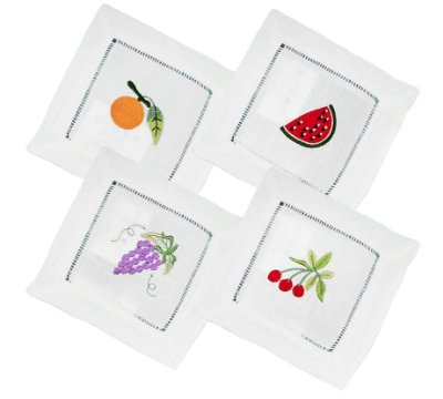 Guardanapo coquetel frutas linho (jogo com 4)
