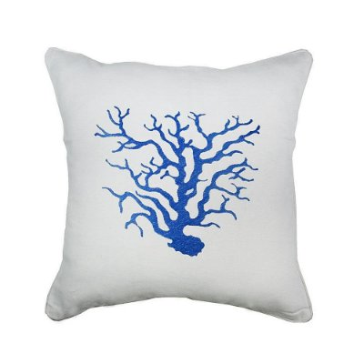 Capa de Almofada linho coral azul bordada 43x43 cm