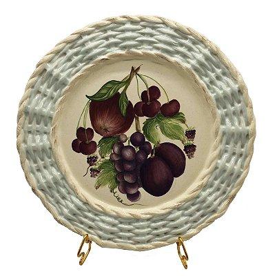 Prato raso borda trançada frutas 2 Zanatta Casa