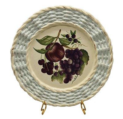Prato raso borda trançada frutas 3 Zanatta Casa