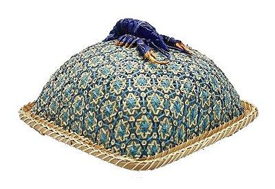Boleira bambu azul quadrada de lagosta