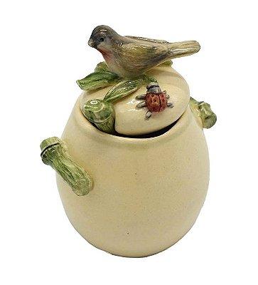 Açucareiro de bambu e pássaro com colher Zanatta Casa