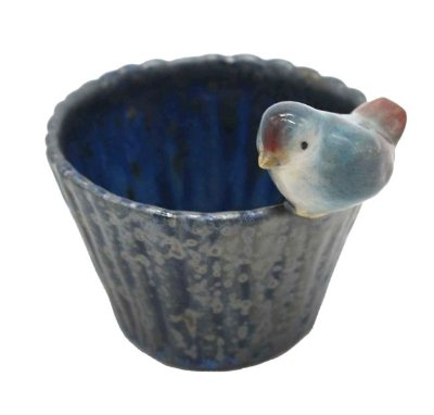 Cachepot bambu P azul com passarinho Zanatta Casa
