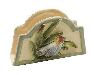 Porta guardanapo de papel bambu com pássaro