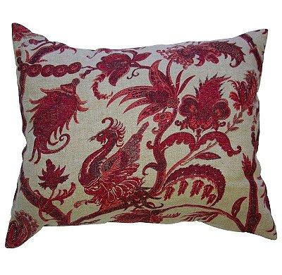 Almofada passaro exótico vermelha linho (rim)