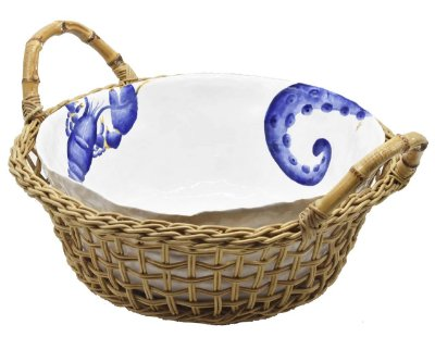 Cesta G com bowl de cerâmica frutos do mar Zanatta casa