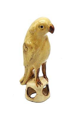 Pássaro de cerâmica cia das índias ocre Zanatta Casa