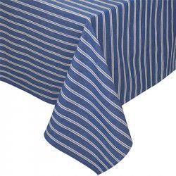 Toalha de mesa azul listras brancas 1,80 x1,80m