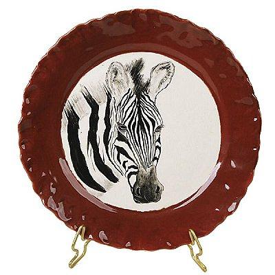 Prato sobremesa zebra borda vermelha