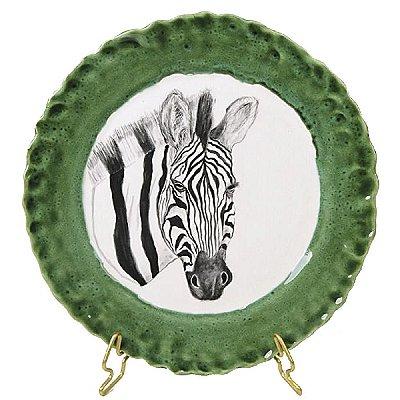 Prato sobremesa zebra borda verde Zanatta Casa