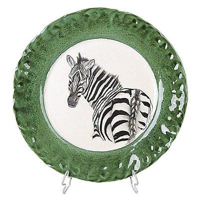 Prato sobremesa zebra costas borda verde Zanatta Casa