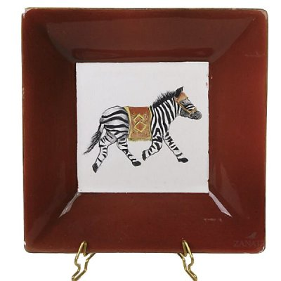 Cinzeiro zebra borda vermelha