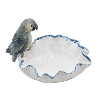 Bowl P folha branca com pássaro azul