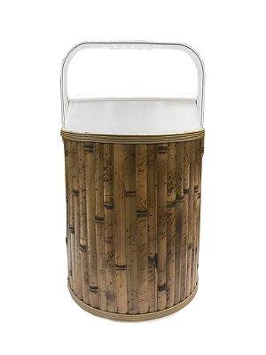 Cooler revestido de bambu