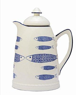Garrafa térmica porcelana peixes