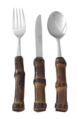 Faqueiro sobremesa bambu escuro 18 peças