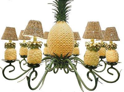 Lustre abacaxi com verde e cúpulas taboa
