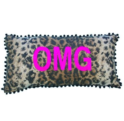 Almofada onça OMG bordado em pink