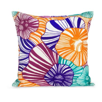 Capa de Almofada Flores multicoloridas bordada