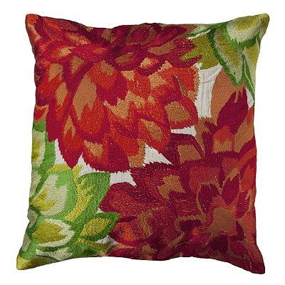 Almofada Flores Bordadas vermelho verde