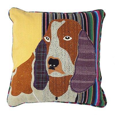 Capa de Almofada Cachorro Beagle Bordada 45x45 cm