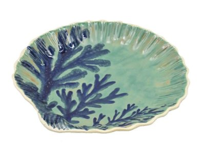 Sousplat Concha com desenho de coral (cj 2)