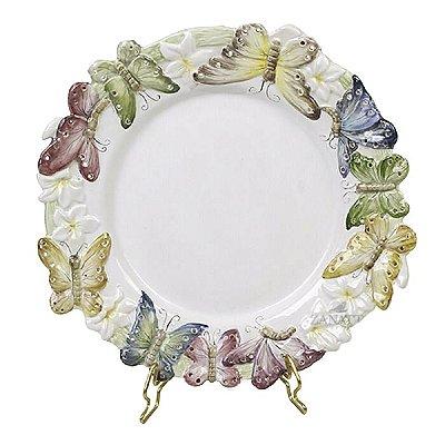 Prato sobremesa borda borboleta relevo
