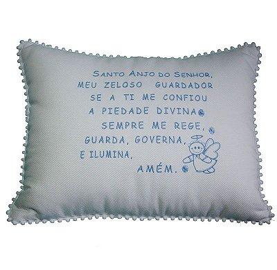 Almofada Oração Anjo da Guarda bordada (20x35cm)