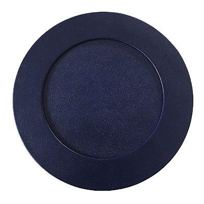 Sousplat couro granulado azul marinho