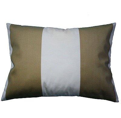 Porta Travesseiro Listas Caqui e branco