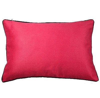 Capa de Almofada Camurça Pink com vivo marinho (rim)